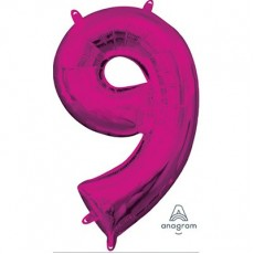 Number 9 Party Decorations - Shaped Balloon CI: Number 9 Pink  40cm