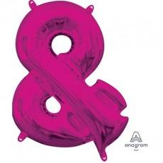 Pink Ampersand Symbol CI: & Shaped Balloon 40cm