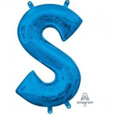 Blue CI: Letter S Shaped Balloon 40cm