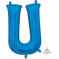 Letter U Blue CI: Shaped Balloon