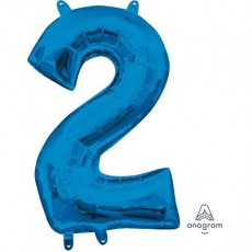 Number 2 Party Decorations - Shaped Balloon CI: Number 2 Blue  40cm