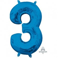 Number 3 Party Decorations - Shaped Balloon CI: Number 3 Blue  40cm