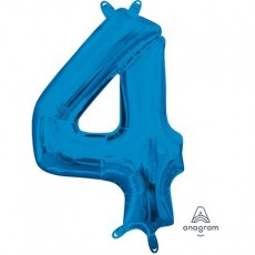 Number 4 Party Decorations - Shaped Balloon CI: Number 4 Blue  40cm