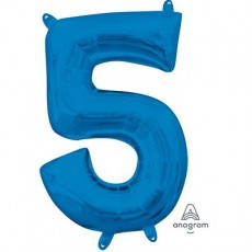 Number 5 Party Decorations - Shaped Balloon CI: Number 5 Blue  40cm