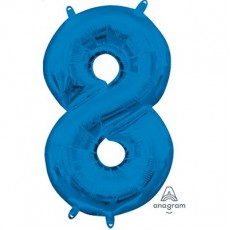 Number 8 Party Decorations - Shaped Balloon CI: Number 8 Blue  40cm