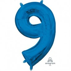 Number 9 Party Decorations - Shaped Balloon CI: Number 9 Blue  40cm