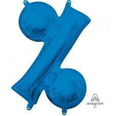 Blue Percentage Symbol CI: % Shaped Balloon 40cm