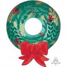 Christmas Multi-Balloon Satin Wreath & Red Bow Shaped Balloon