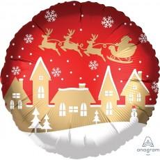 Christmas Standard Satin Santa & Village Foil Balloon
