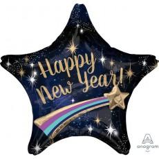 Multi-Balloon XL Shooting Star Happy New Year! Shaped Balloon 71cm