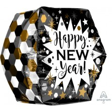 Anglez UltraShape Geometric Happy New Year! Shaped Balloon 40cm x 40cm
