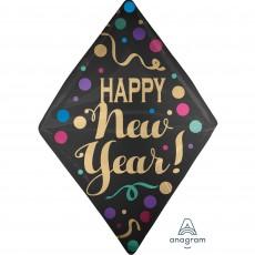 Anglez UltraShape Satin Dots Happy New Year! Shaped Balloon 40cm x 40cm