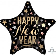 Standard XL Satin Star Happy New Year Shaped Balloon 45cm
