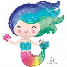 Multi Colour SuperShape XL Colourful Mermaid Shaped Balloon