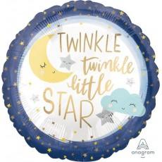 Round Twinkle Little Star Standard XL Satin Foil Balloon 45cm