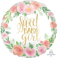 Round Baby Shower - General SuperShape Floral Sweet Baby Girl Foil Balloon 45cm