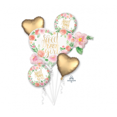 Baby Shower - General Bouquet Floral Sweet Baby Girl Foil Balloons Pack of 5