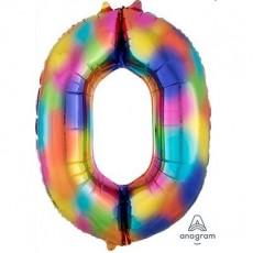 Number 0 Rainbow Splash SuperShape Shaped Balloon