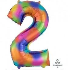 Number 2 Rainbow Splash SuperShape Shaped Balloon