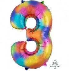 Number 3 Rainbow Splash SuperShape Shaped Balloon