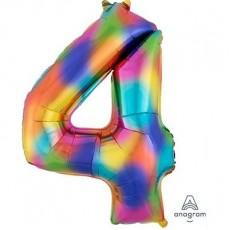 Number 4 Party Decorations - Shaped Balloon SuperShape Rainbow Splash