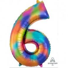 Number 6 Rainbow Splash SuperShape Shaped Balloon
