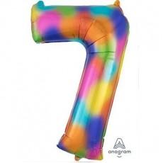 Number 7 Rainbow Splash SuperShape Shaped Balloon