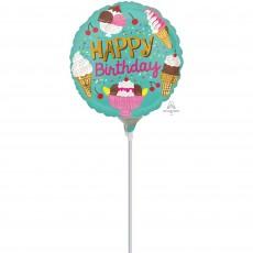 Round Ice Cream Happy Birthday Foil Balloon 22cm