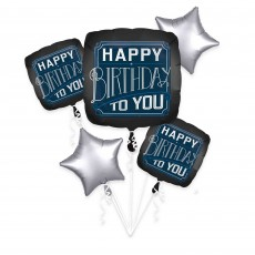 Happy Birthday Man Bouquet Shaped Balloons Pack of 5
