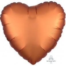 Heart Satin Luxe Amber Orange Standard HX Shaped Balloon 45cm