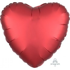 Heart Satin Luxe Sangria Red Standard HX Shaped Balloon 45cm