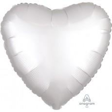 Heart Satin Luxe White Standard HX Shaped Balloon 45cm