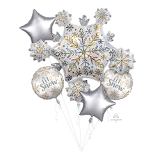 Christmas Party Decorations - Foil Balloons Shining Snowflakes Bouquet