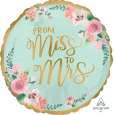 Round Bridal Shower Mint To Be Standard XL From Miss to Mrs Foil Balloon 45cm