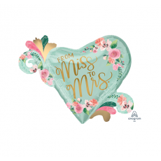 Heart Bridal Shower Mint To Be SuperShape XL From Miss to Mrs Shaped Balloon 81cm x 66cm