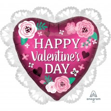 Satin Pomegranate SuperShape Intricates Happy Valentine's Day Shaped Balloon 58cm x 53cm