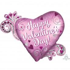 SuperShape Satin Open Heart Donut Happy Valentine's Day Shaped Balloon 81cm x 66cm