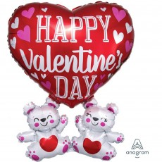 Valentine's Day SuperShape Floating Bears Shaped Balloon