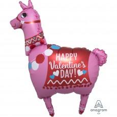 SuperShape Llama Happy Valentine's Day Shaped Balloon 71cm x 91cm