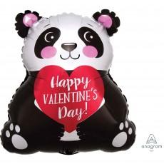 Junior Shape Panda Happy Valentine's Day Shaped Balloon 38cm x 40cm