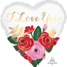 Heart Standard Rose Bouquet I Love You Shaped Balloon 45cm