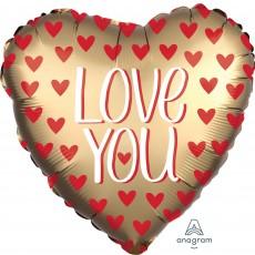 Heart Satin Gold Standard XL Love You Shaped Balloon 45cm