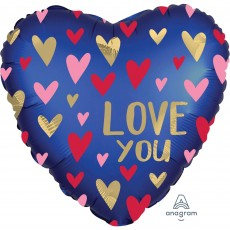 Love Satin Navy & Gold Standard XL Shaped Balloon