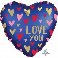 Love Satin Navy Blue Standard XL Foil Balloon