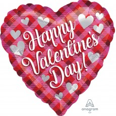 Heart Standard Plaid Happy Valentine's Day Shaped Balloon 45cm