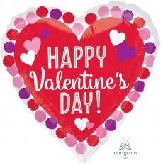 Heart Standard Pom Poms Happy Valentine's Day Shaped Balloon 45cm