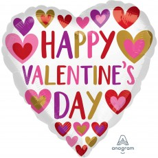 Heart Standard Hand Done Hearts Happy Valentine's Day Shaped Balloon 45cm