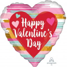 Heart Standard Brushed Happy Valentine's Day Shaped Balloon 45cm
