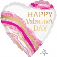 Heart Standard Watercolor Geode Happy Valentine's Day Shaped Balloon 45cm
