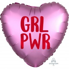 Heart Misc Occasion Standard XL Satin Infused GRL PWR Shaped Balloon 45cm